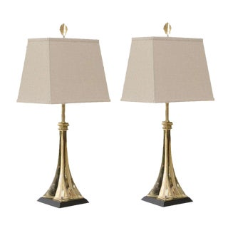 Elegant Pair of Modern Lamps in Brass