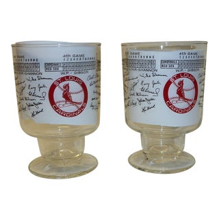 St. Louis Cardinals 1967 World Series Championship Footed Glasses - A Pair