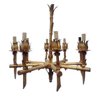 Gilded Metal Bamboo Chandelier