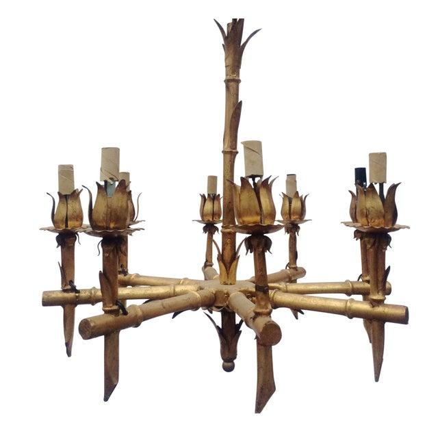 Image of Gilded Metal Bamboo Chandelier