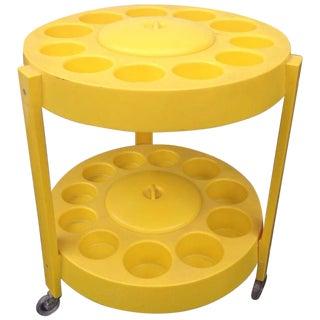 Yellow Plastic Bar Cart 1960s