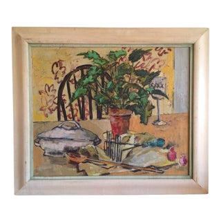 Mid Century Modern Abstract Still Life Cubism Oil Painting