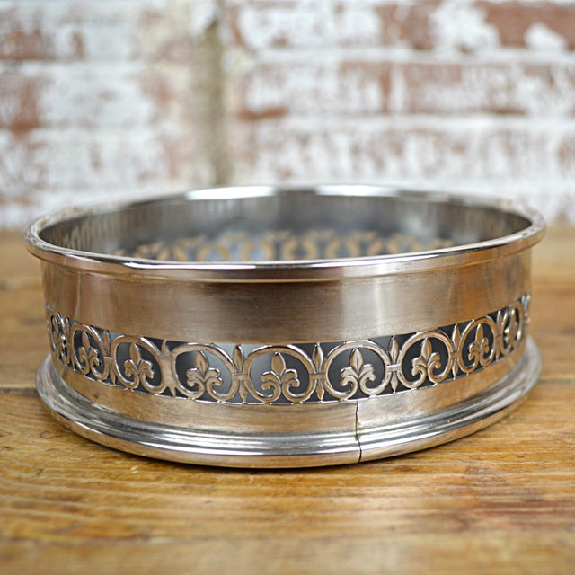 Fleur De Lys Silverplate Wine Coaster - Image 5 of 6