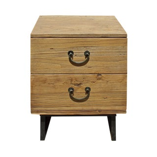Rustic Wood Two Drawer Side Table / Nightstand