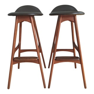 Danish Modern Erik Buck Bar Stools - Pair