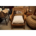 Image of Rattan Wicker Chair & Ottoman W/ Upholstered Seat