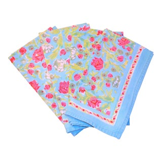 Indian Block Print Turquoise & Pink Napkins - Set of 4