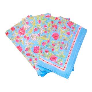Indian Block Print Turquoise & Pink Napkins - Set of 4
