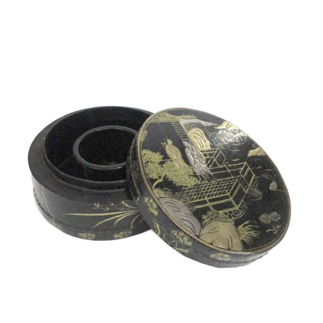 Chinese Black Lacquer Scenery Round Box - Image 4 of 5