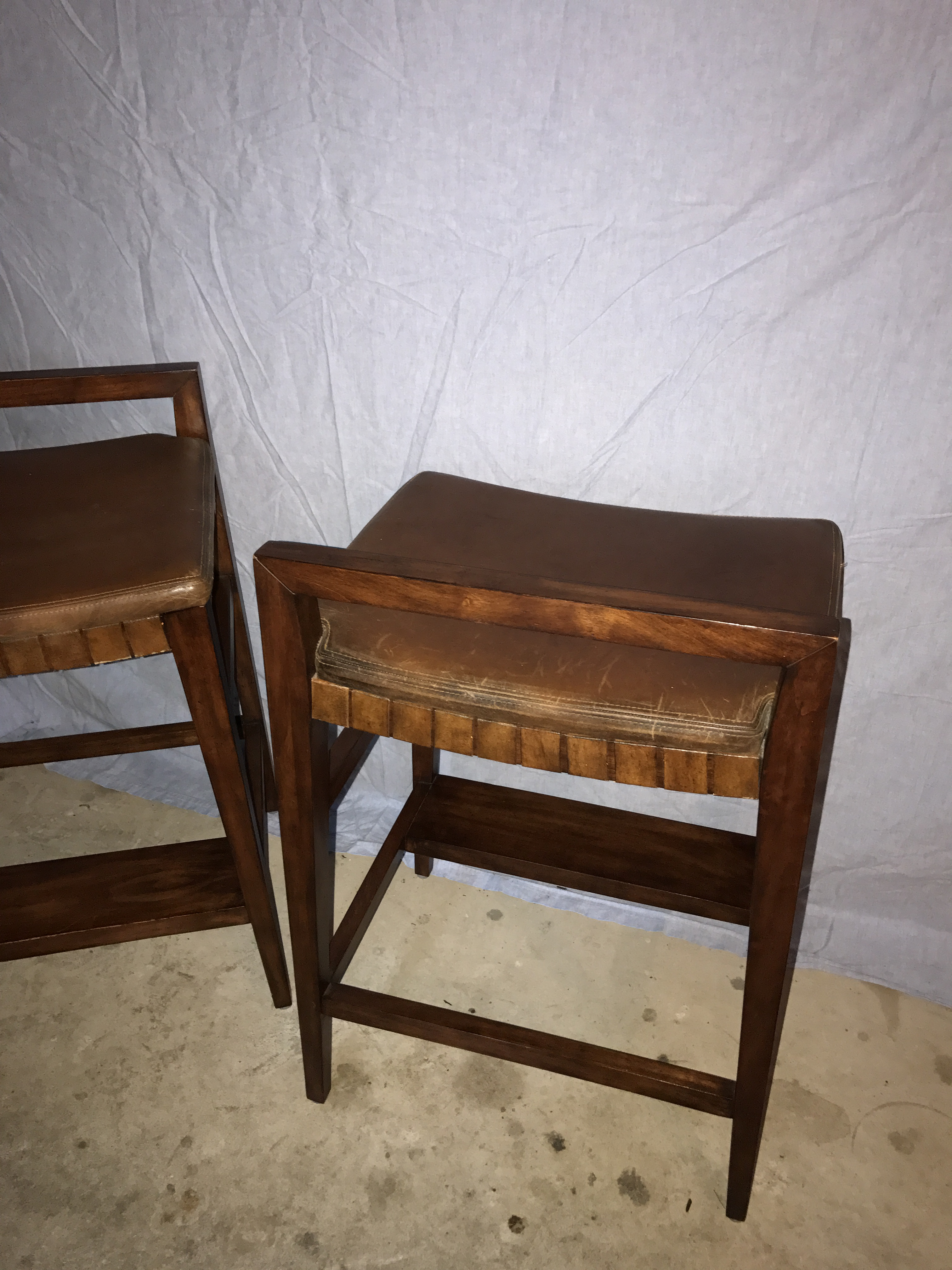 Henredon Mission Cherry Wood and Leather Bar Stools - A Pair - Image 5 of 11  sc 1 st  Chairish & Henredon Mission Cherry Wood and Leather Bar Stools - A Pair ... islam-shia.org