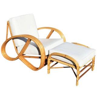 3/4 Pretzel Rattan Lounge Chair and Ottoman