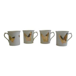 Takahashi San Francisco Porcelain Gold Leaf Butterfly Tea Cups - Set of 4