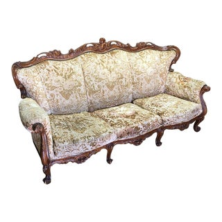 Upholstered & Carved Wood Trim Sofa