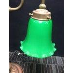 Image of Vintage Emerald Glass Eagle Brass Lamp