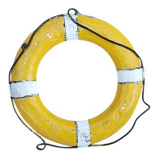 """28"""" Vintage 1950s Nautical Yellow & White Life Preserver"""