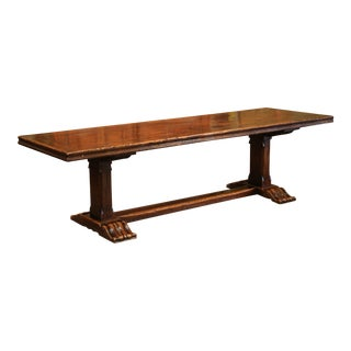 Large French Louis XIII Carved Chestnut and Oak Farm Table from the Pyrenees