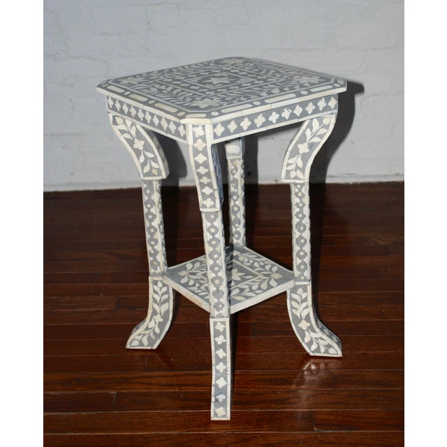 White And Gray Bone Inlay Accent Table: Indian Gray Bone Inlay Side Table