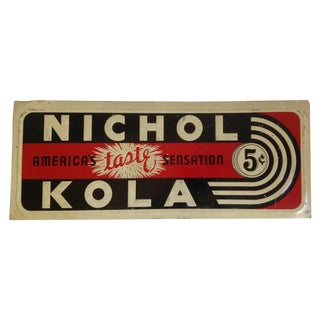 C.1930's Rare Nichol Kola Enamel Tin Sign