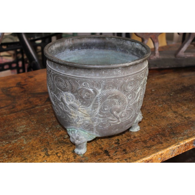 Heavy Bronze Asian Pot with Claw Feet - Image 2 of 4