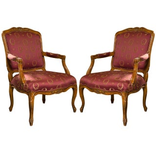 French Louis XV Style Walnut Fauteuils - A Pair