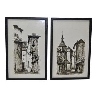 """Granada & Toledo"" Pair of Hand Embellished Spanish Prints c.1970s"
