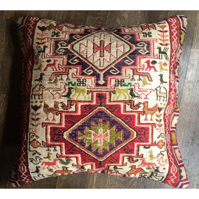 """Antique Silk Soumak 23"""" Rug Floor Pillow"""