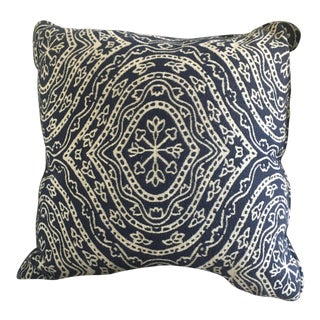 Contemporary Navy Blue & White Patterned Pillow