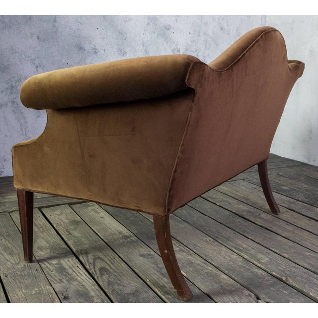 Image of 1920's American Brown Velvet Settee