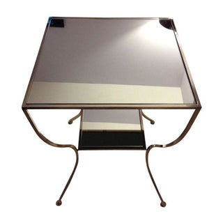 Worlds Away Marcel Mirrored Nickel Side Table