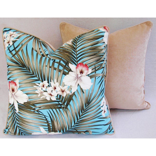 Custom Tropical Palm & Orchid Pillows - A Pair - Image 9 of 11