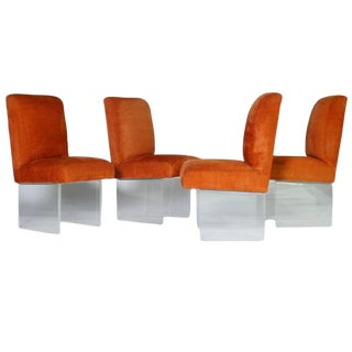 Kagan Style Lucite Base Dining Chairs