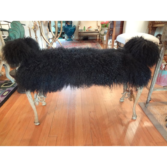 Image of Iron Mongolian Lamb's Wool Upholstered Bench