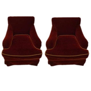 Edward Ferrell Swivel Lounge Chairs - A Pair