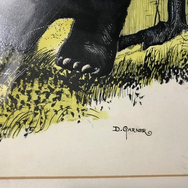 Vintage Ink & Watercolor Black Bear Painting - Image 6 of 10