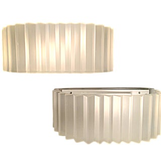 Vintage Sirmos White Resin Sconces - Pair