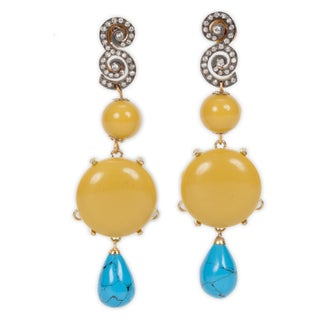Chartruese Turquoise Drop Earrings