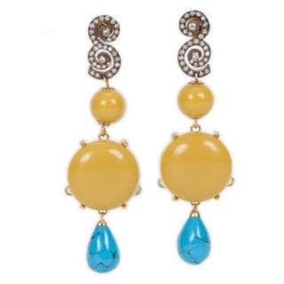 Chartruese Turquoise Drop Earrings
