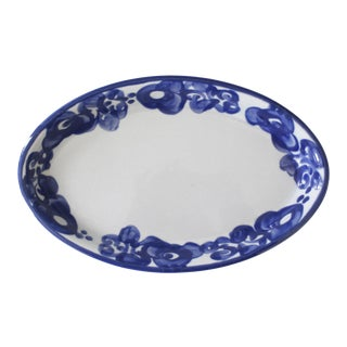 Lapid Israel Ceramic Serving Dish Bowl Blue White Flowers Mid Century