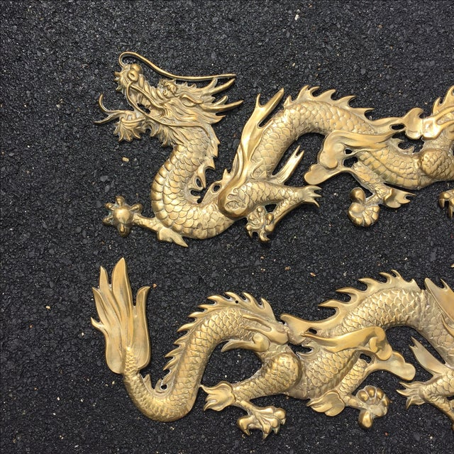 Image of Vintage Brass Dragon Wall Hangings - A Pair