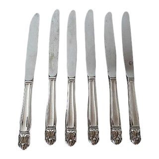 "Mid-Century Silver Plate ""Danish Princess"" Pattern Dinner Knives - Set of 6"