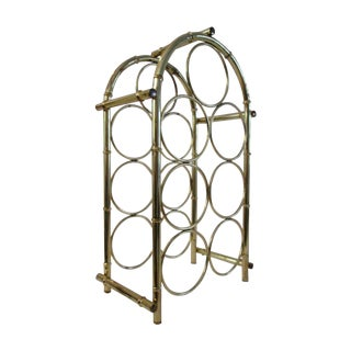 Vintage Brass Plated Dome Bamboo Wine Rack