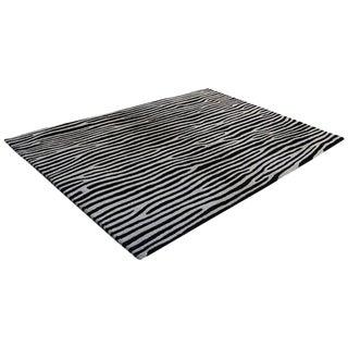 """Black and White Zebra Striped Wool Rug -- 5'3"""" x 7'7"""""""
