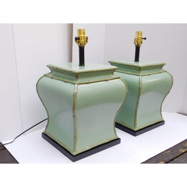 Vintage Sage Green Ceramic Lamps A Pair Chairish