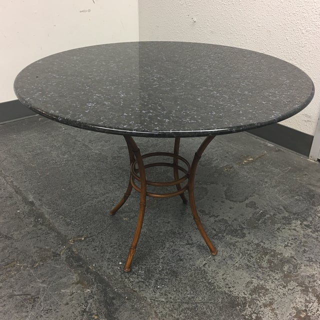 Granite & Rattan Dining Table & Chairs - Image 5 of 9