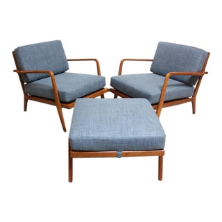 Pair of Mid-Century Walnut Armchairs and Ottoman by Mel Smilow