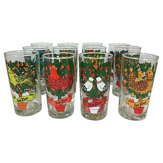 Twelve Days of Christmas Glasses - S/12