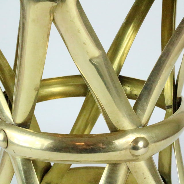 Mid Century Brass X Drum Stool - Image 6 of 8