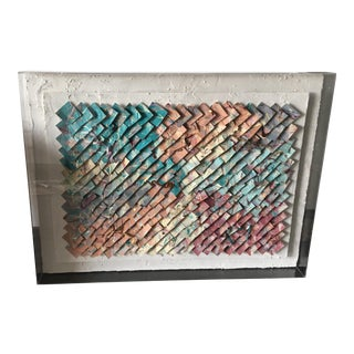 1980s Lucite Framed Mixed Media Artwork