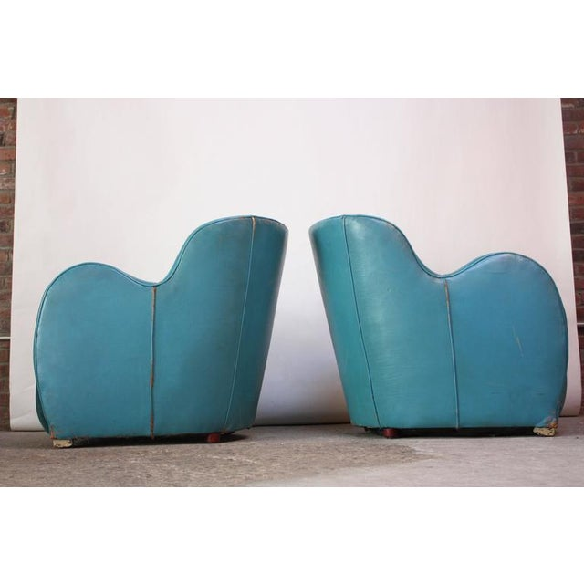 Scandinavian Deco Club Chairs in Blue Leather and Velvet - Image 4 of 11