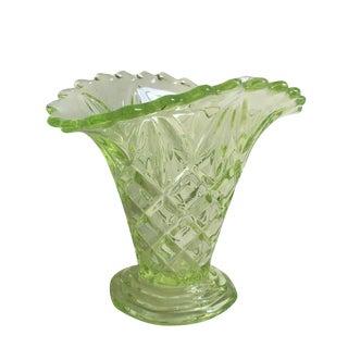 "Vintage 1930s Art Deco Uranium Green Glass ""Manchester Basket"" Vase"